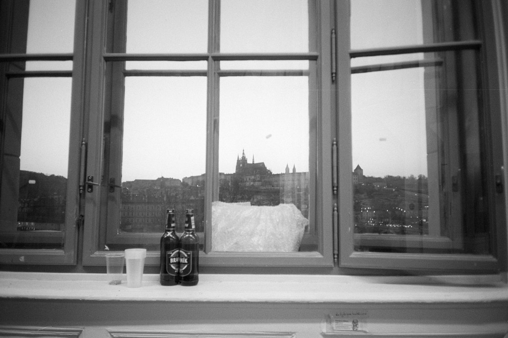 Prague Castle as viewed from windows of Academy of Arts, Architecture and Design. Notice the cheap Czech beer with plastic cups in the foreground. Foma Fomapan 100