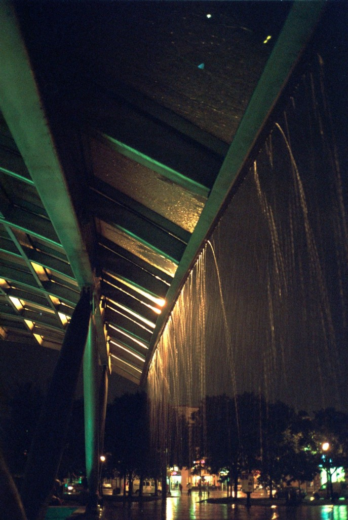 Rainstorm. Eastern Market Metro station, Washington, DC. Fuji Superia 400.