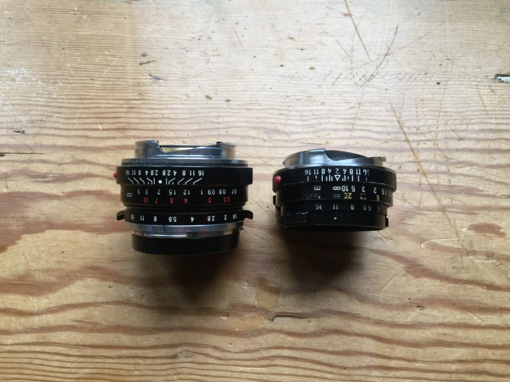 Flat cam of the voigtlander 35mm 1.4 vs. pitched cam of 40mm Summicron-c