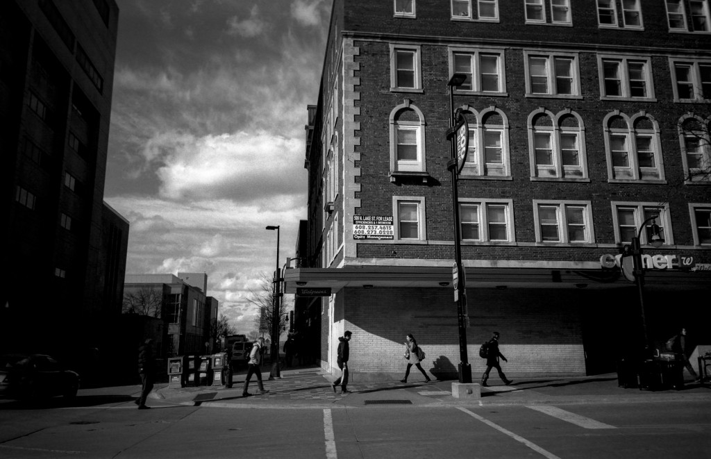 Photo of people and buildings on State Street in Madison,WI.