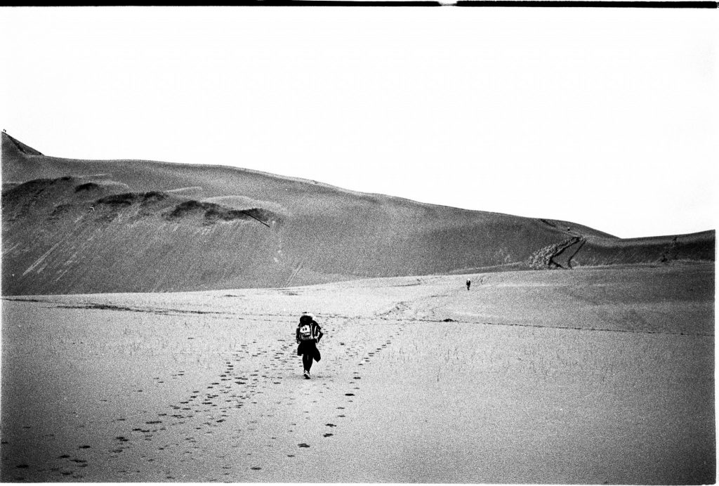 Person walking in the Gobi Desert