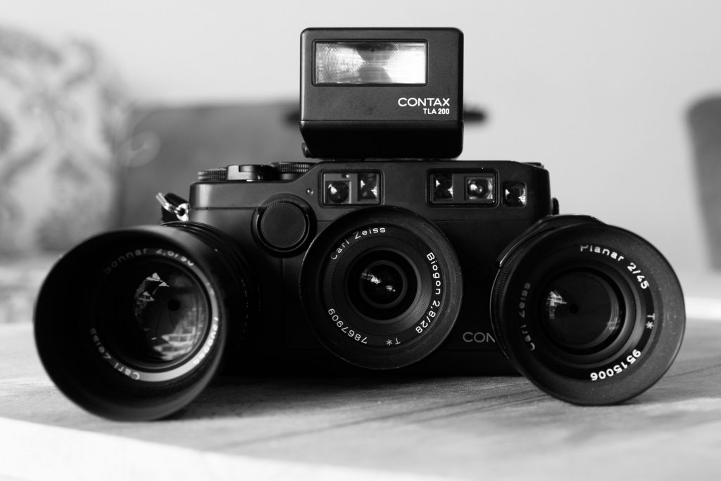 Contax G2 camera system with 3 lenses