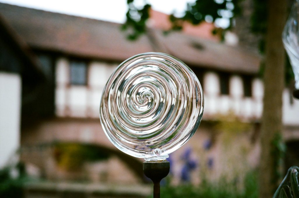 swirling glass garden art