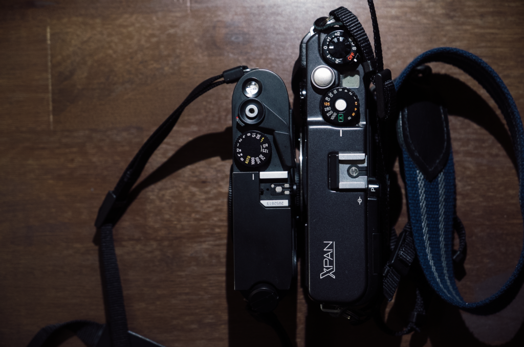 As you can see the X-Pan is a bit larger than an M7. I only found the size to be an issue when pocketing the camera.