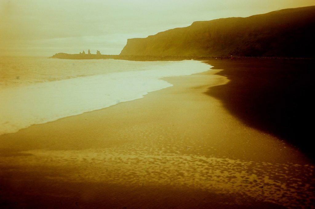 Vik, the Black Sand Beach, Iceland. Five frames with a Canon AT-1 and a roll of Redscale.