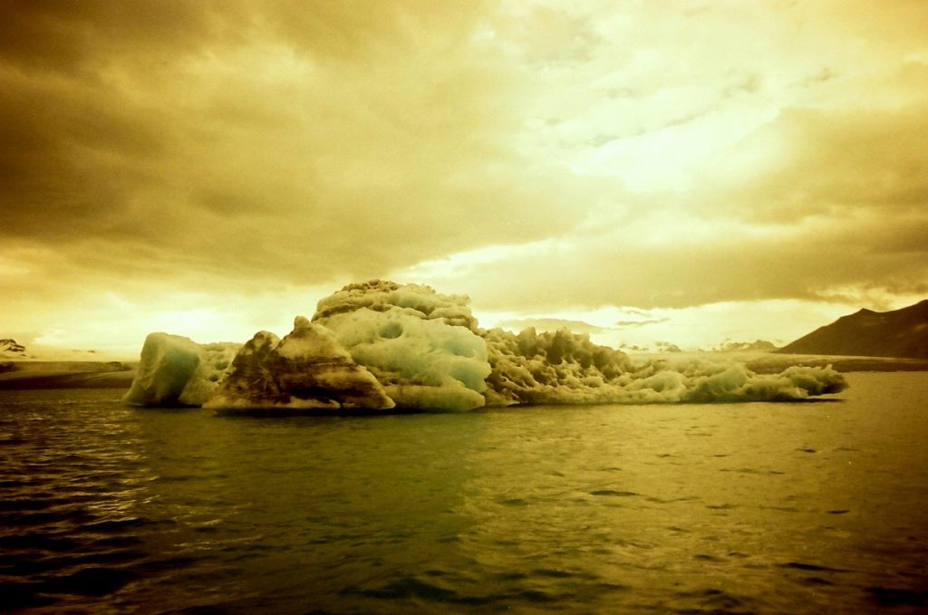 1000 year old icebergs at Jökulsárlón. Five frames with a Canon AT-1 and a roll of Redscale.