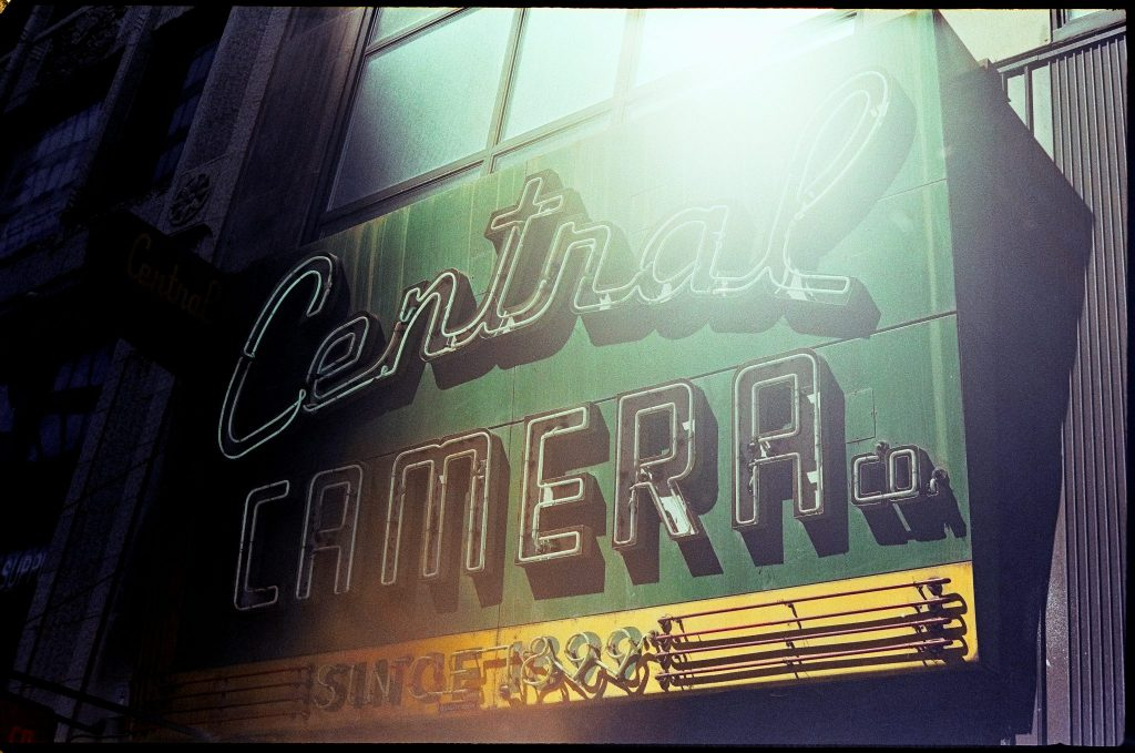 Photo of Central Camera Company new sign shot with Petri 1.9 Color Corrected Super