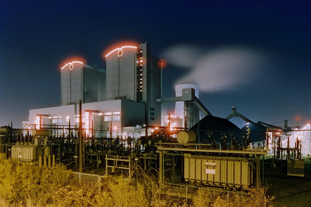 coal power plant shot at night on CineStill film