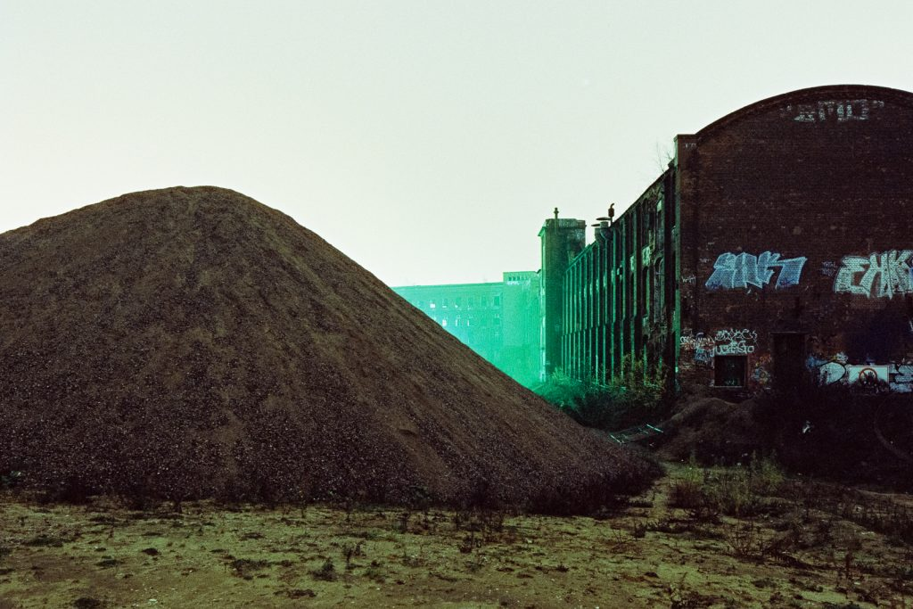 abandoned rubber factory of Continental AG shot at night on CineStill film