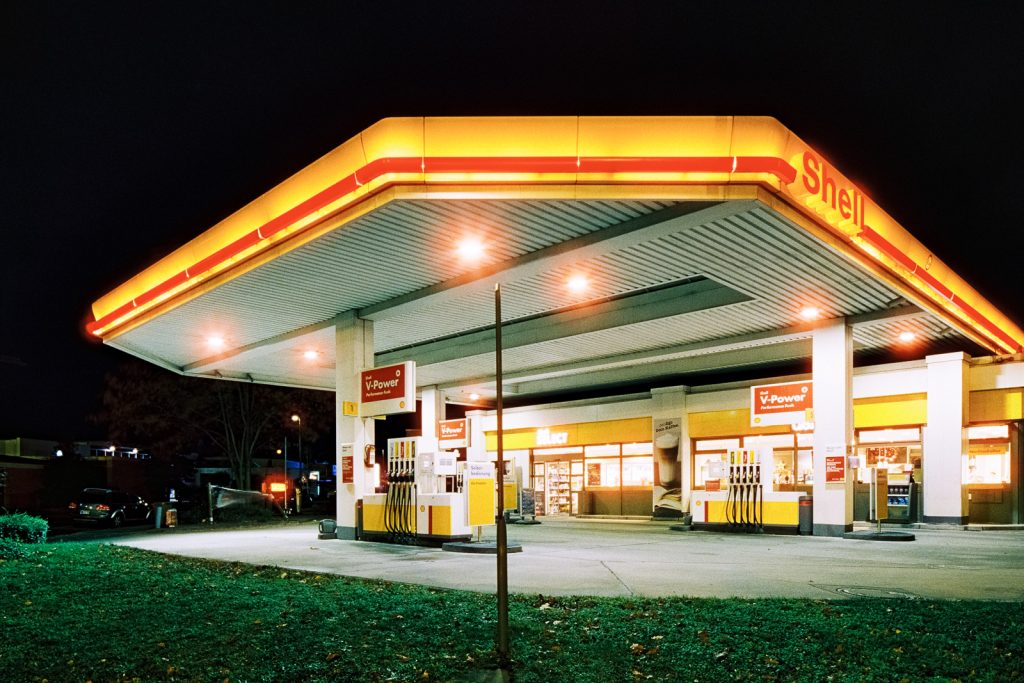 Shell-owned filling station shot at night on CineStill film