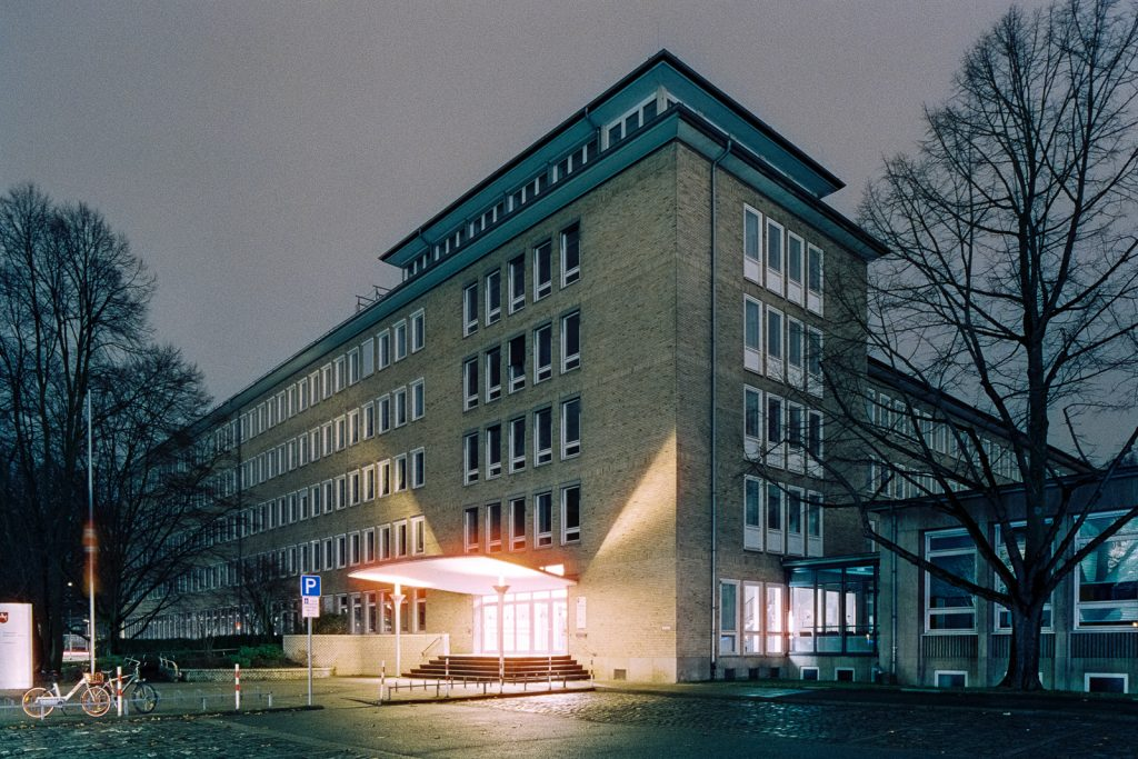 Office building in Hanover shot at night on CineStill film
