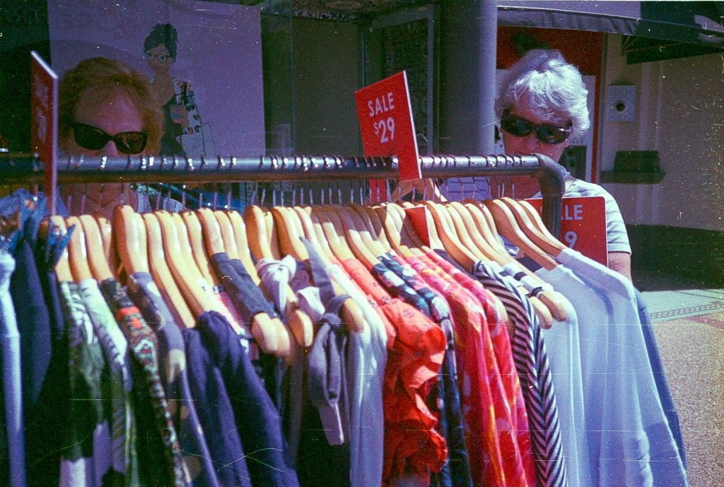 rack of clothes photographed with National (Panasonic) C-500AF