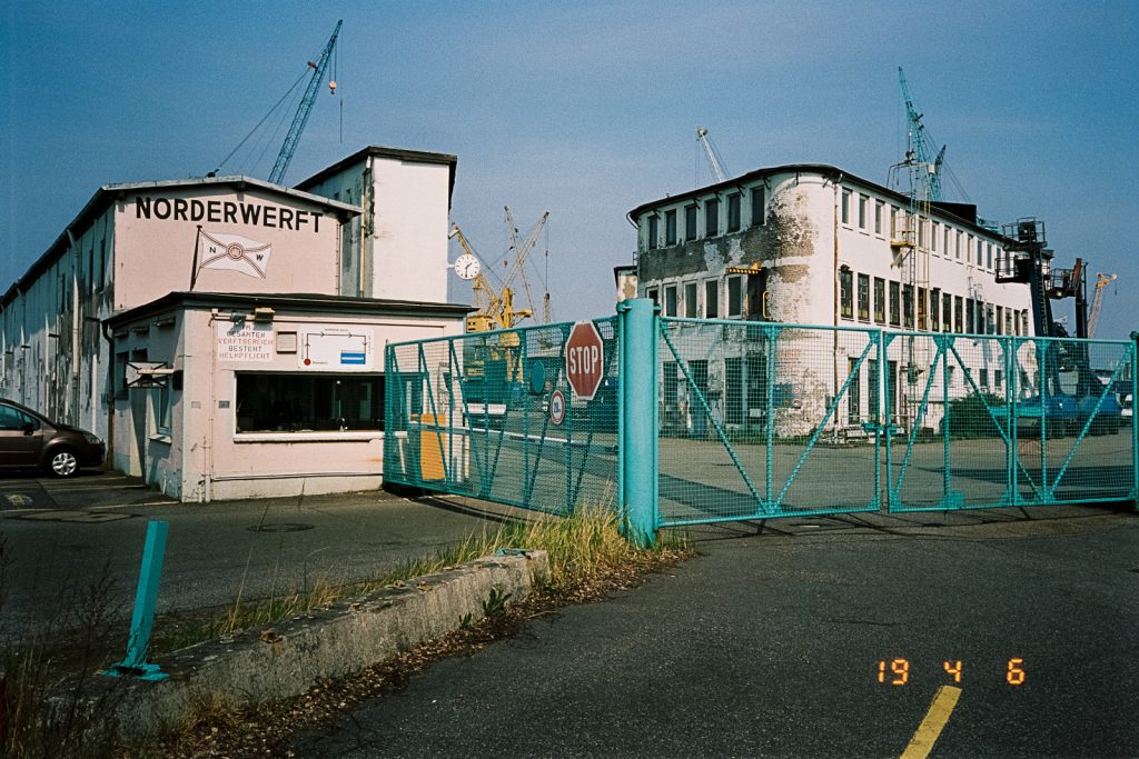 Two almost derelict buildings of a shipyard located in Hamburg, captured with a point-and-shoot camera.