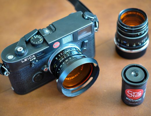 Leica M6 camera with a 35mm Summilux lens attached.