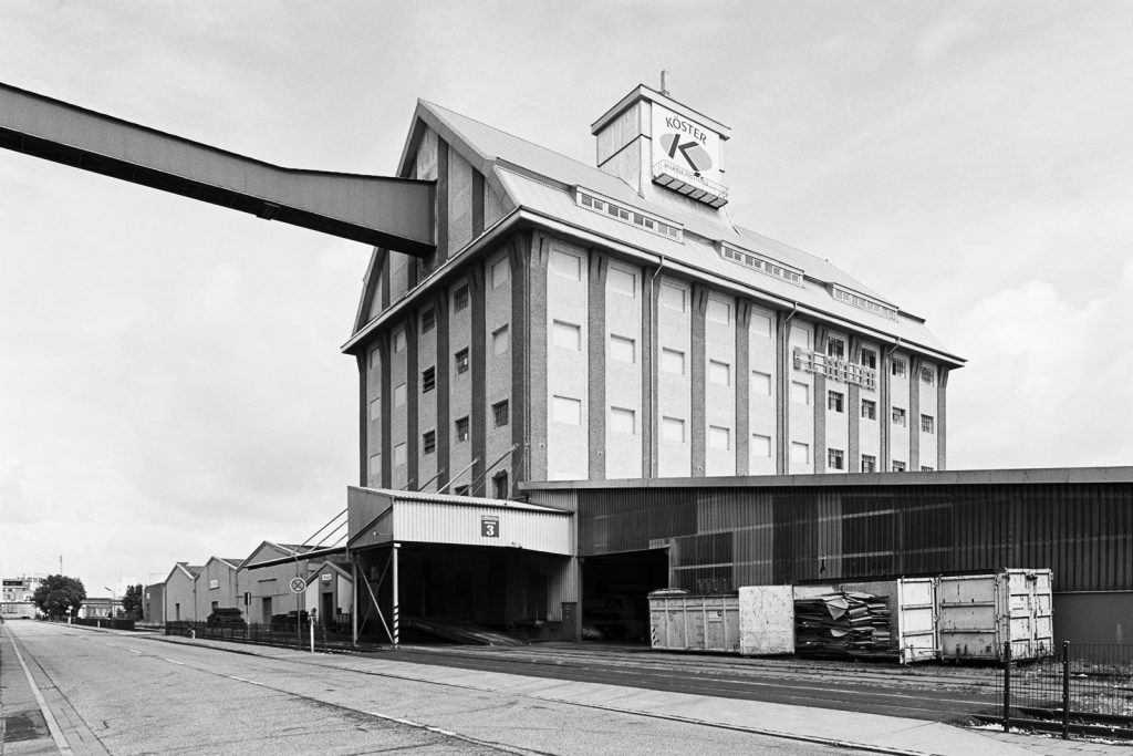 Warehouse for marine proteins at Bremen ports shot on Fuji Acros black-and-white film.