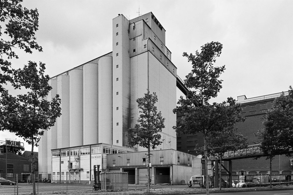 Grain elevator at Bremen ports shot on Fuji Acros black-and-white film.