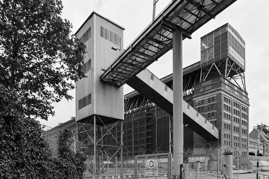 "Large grain storage and loading facility (""der Koloss"") at Bremen ports shot on Fuji Acros black-and-white film."