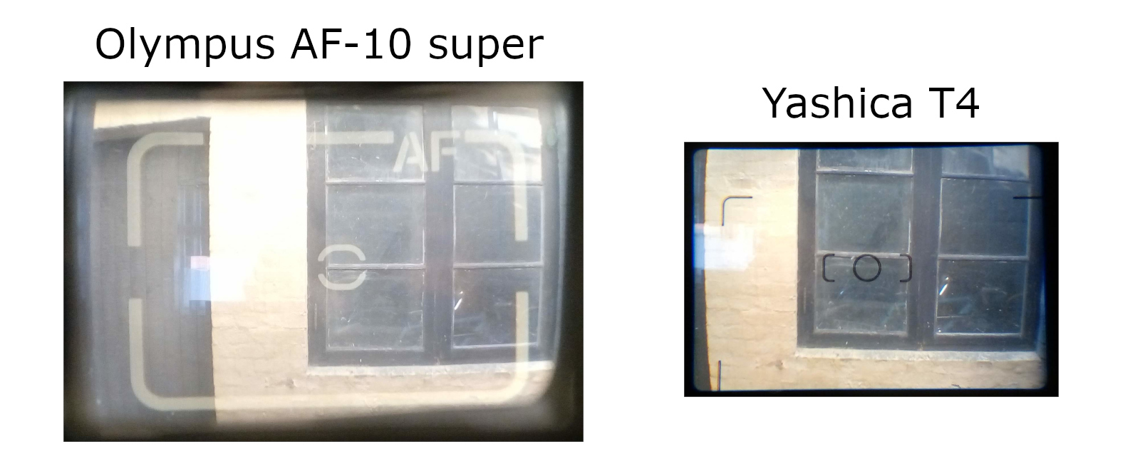 Yashica T4 viewfinder comparison