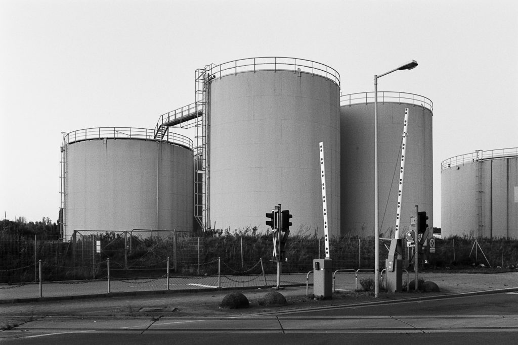 Oil tanks located in Hannover shot with a Curtagon shift lens on a Leicaflex SL camera.