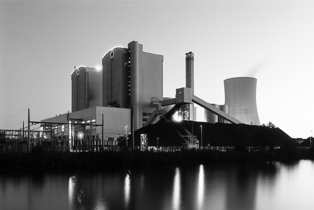Coal-fired power plant in Hannover shot with a Curtagon shift lens on a Leicaflex SL camera.