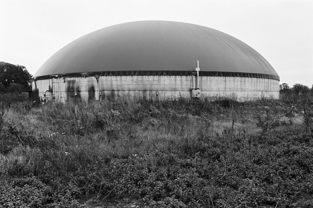 Biogas plant as a rather industrial type of the agricultural landscapes in northern Germany.