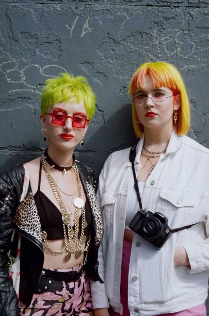 Canon Sureshot Zoom XL portrait of two women with yellow and green hair