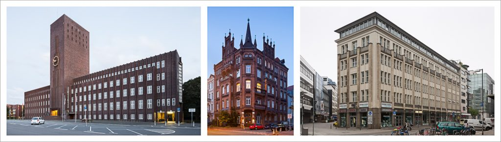 three images of different buildings combined