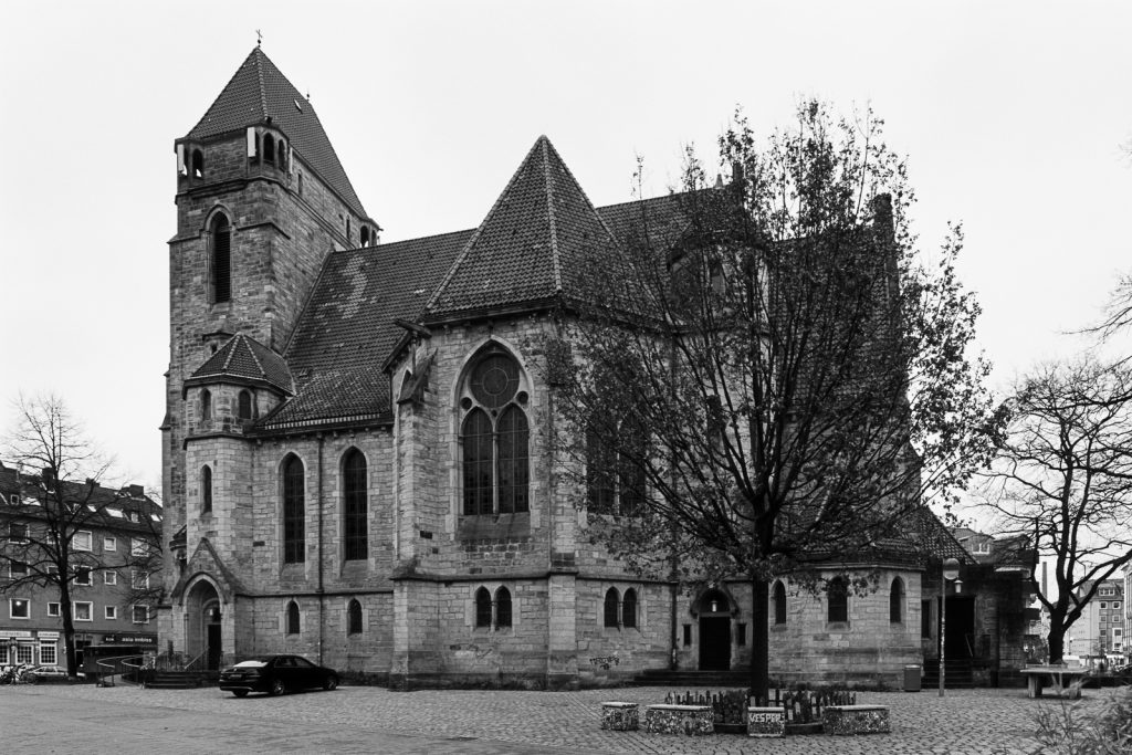 Black-and-white photograph of Lutherkirche church located at Nordstadt quarter in Hannover, Germany.