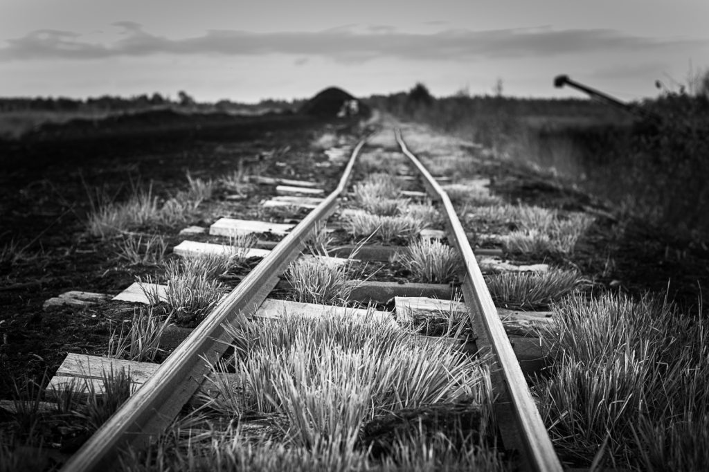 Black and white photograph of bent railroad tracks through the peat bog.