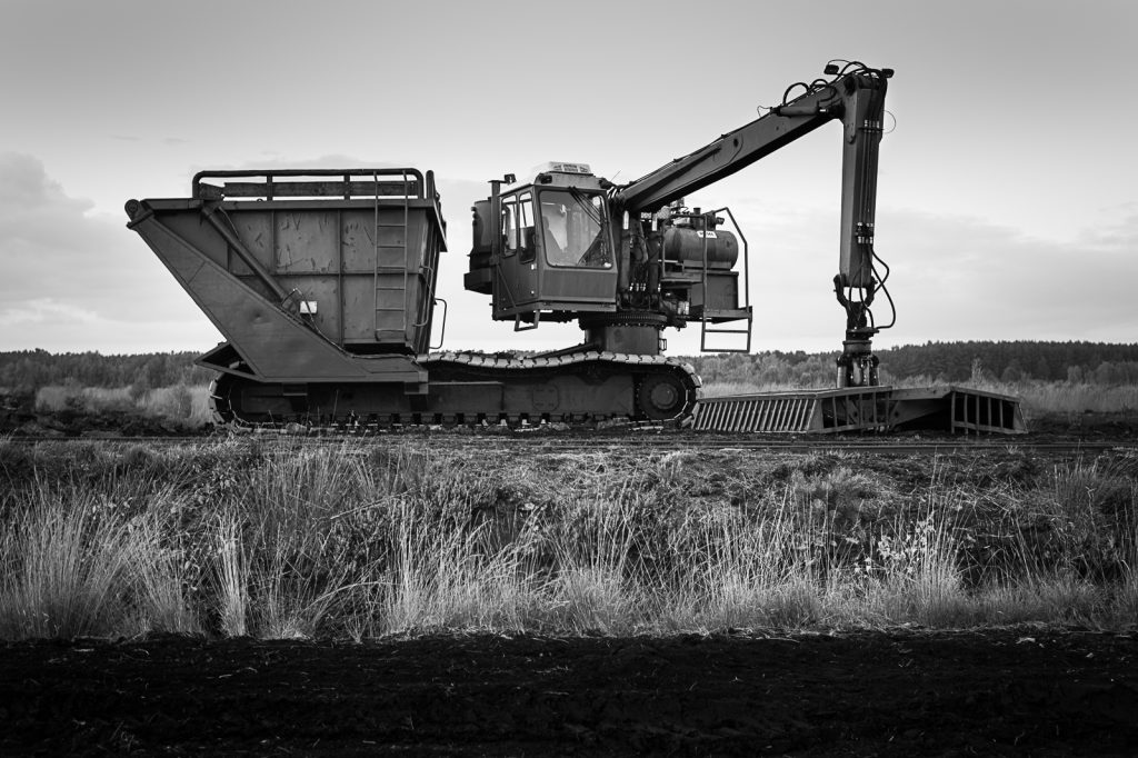 The peat harvester found in the bog.