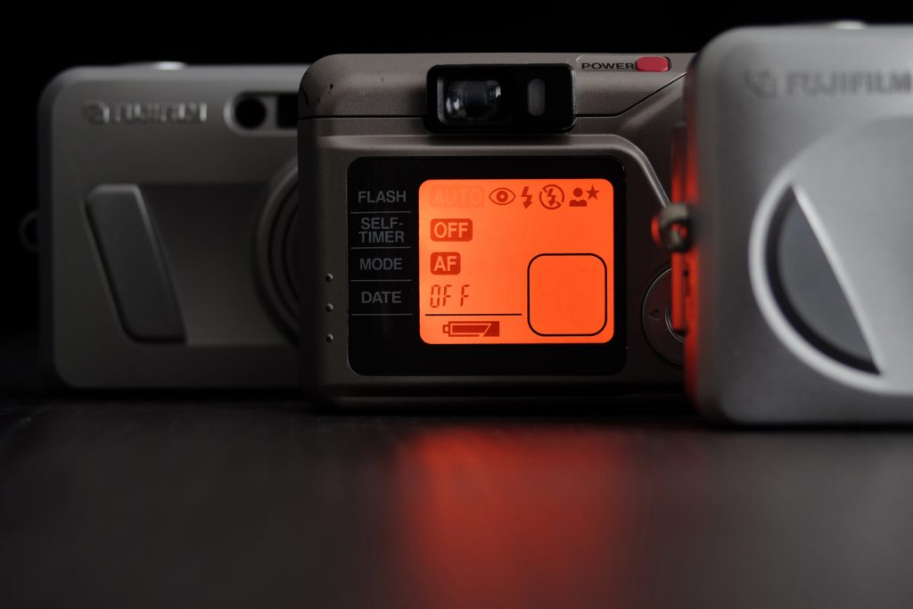 LCD screen of Fujifilm Zoom Date camera