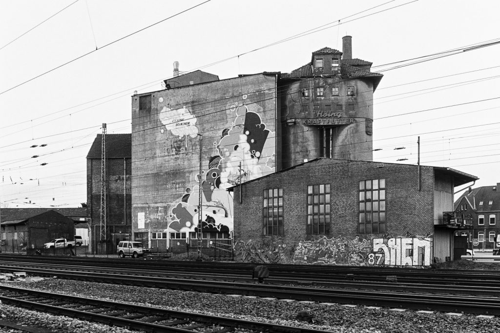 Abandoned factory in Verden seen from the railway line.