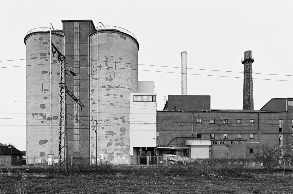 Black-and-white image of the abandoned sugar factory located in the village Weetzen near Hannover, Germany.