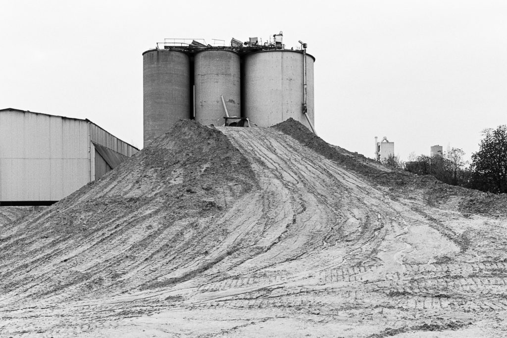 View of the partial demolished cement works.