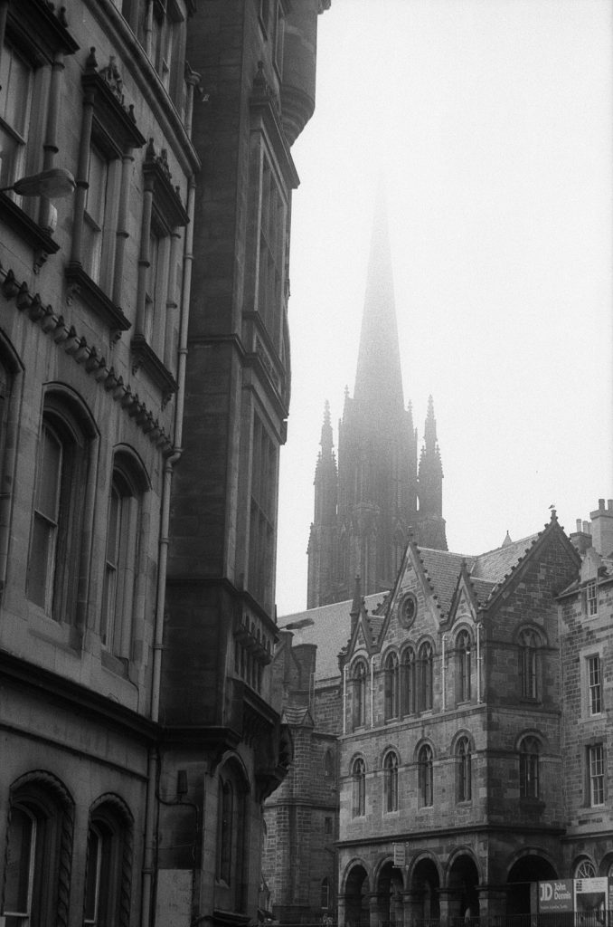 Steeple in the fog in Edinburgh