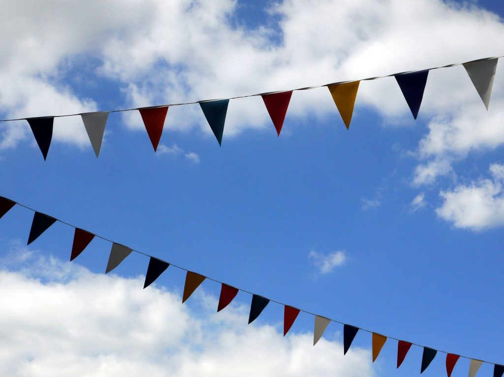 bunting with sky