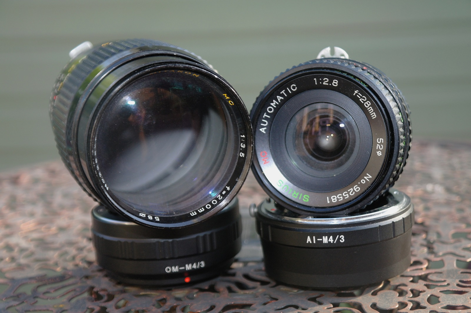 two lenses plus adapters