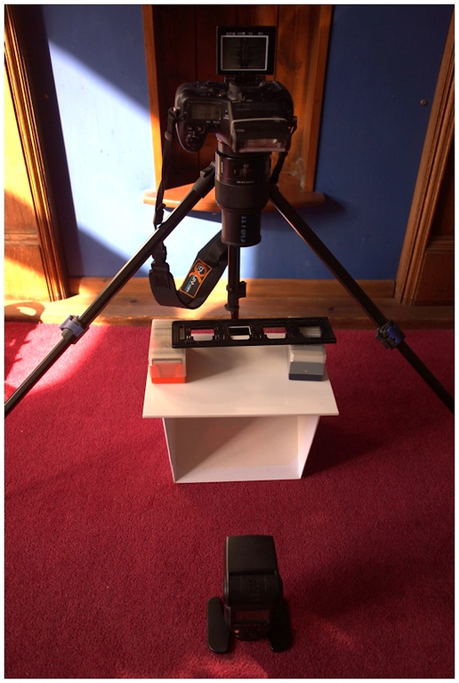 camera on tripod for copying slides