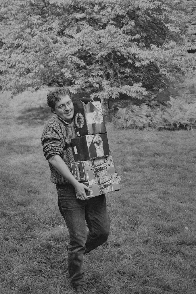 Man with boxes of beer