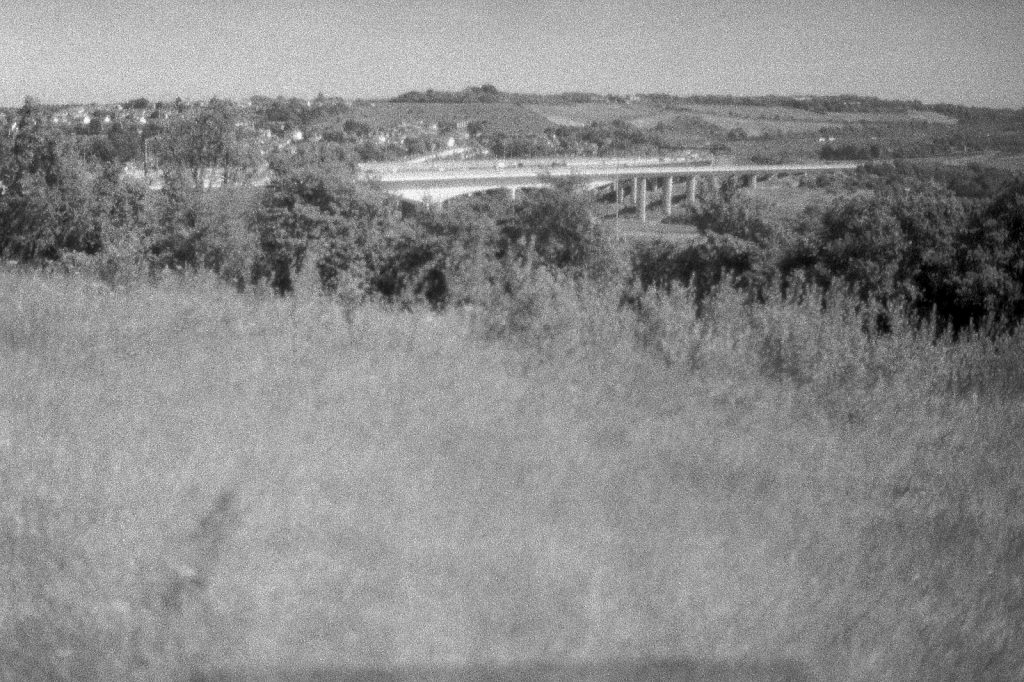 black and white photo of countryside views