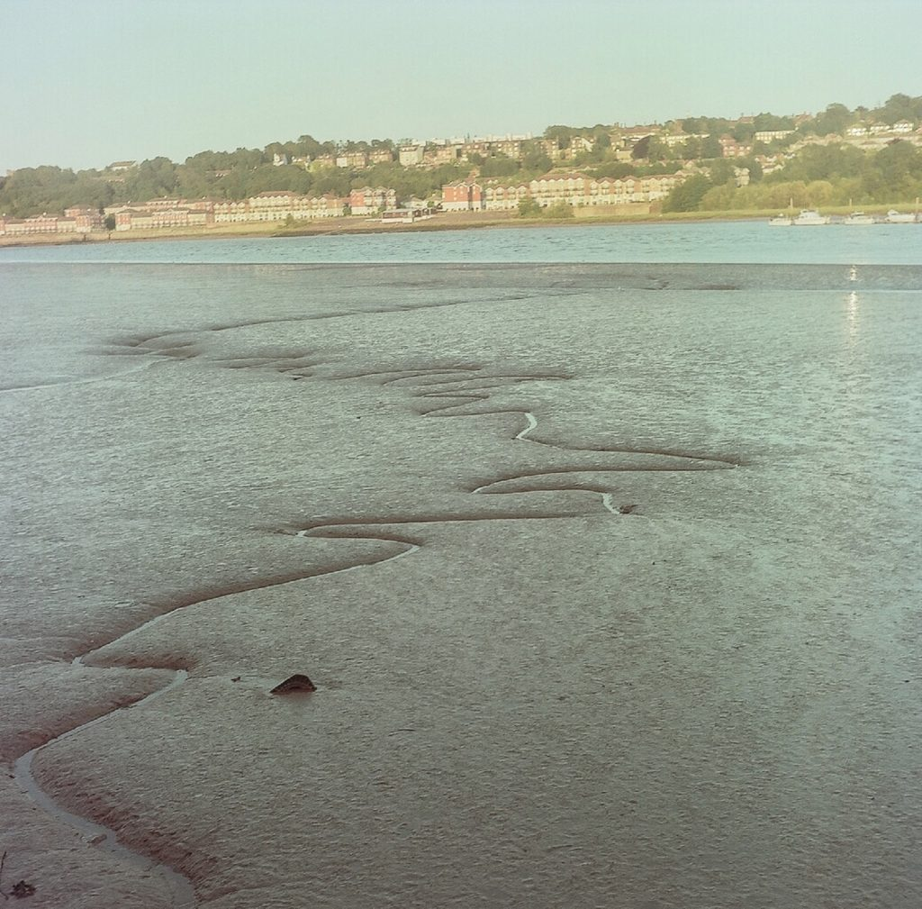 photo of a river with pattern in the mud