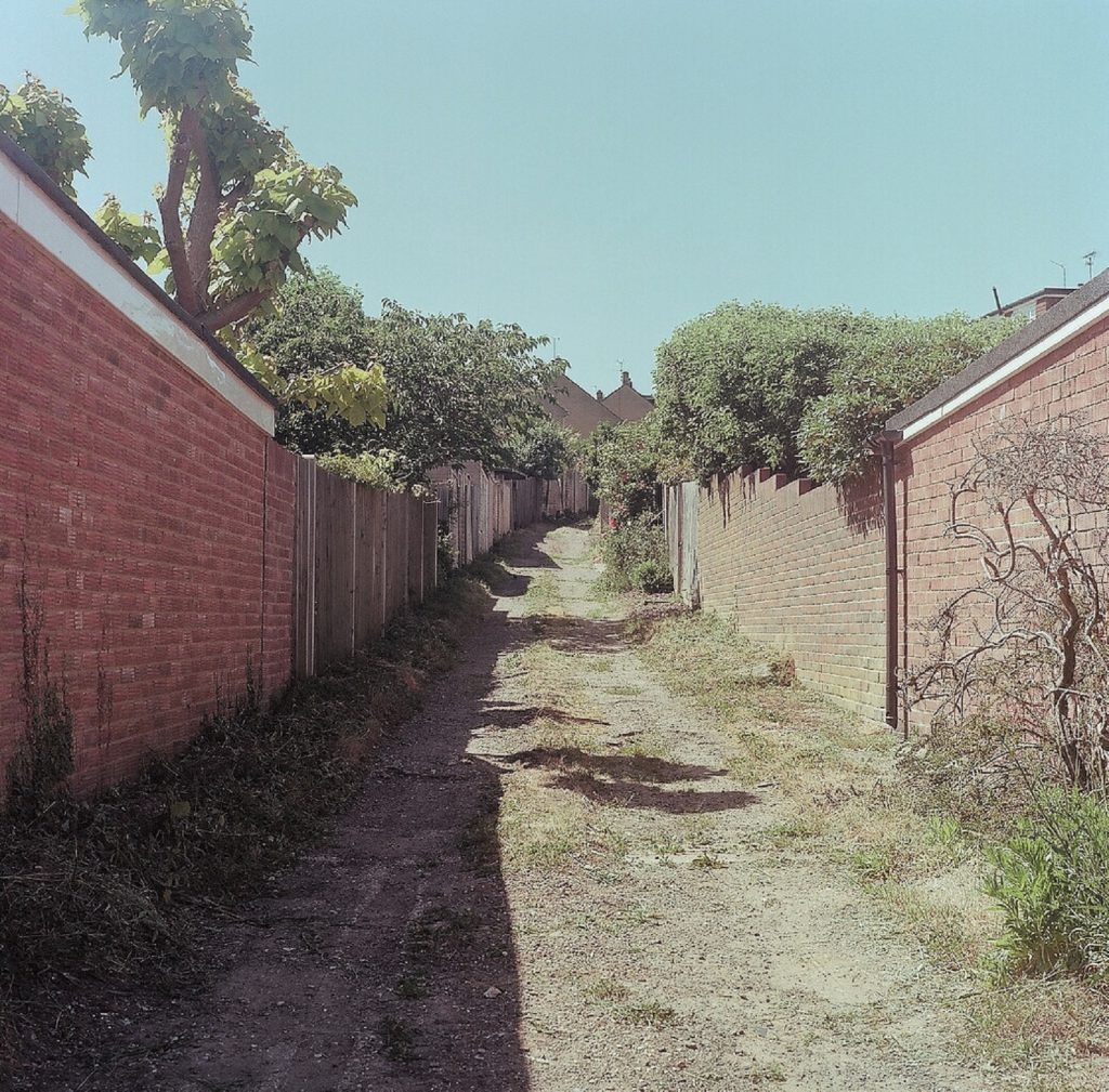 alley behind some houses