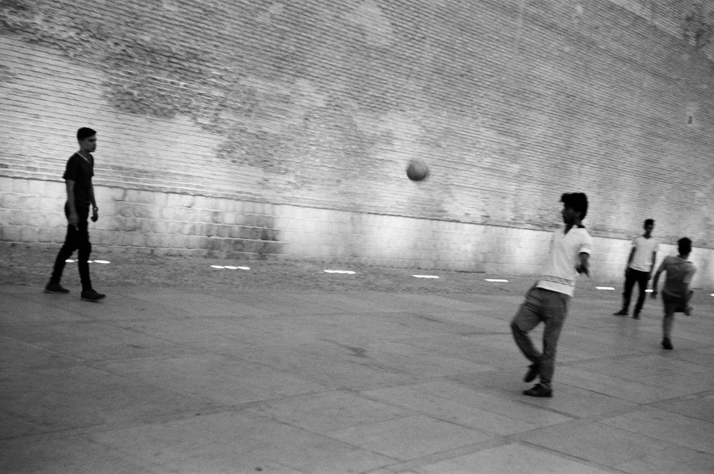 Football outside the citadel in downtown Shiraz.