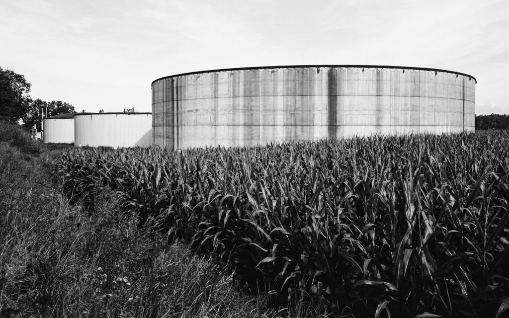 dung silos in an agricultural landscape
