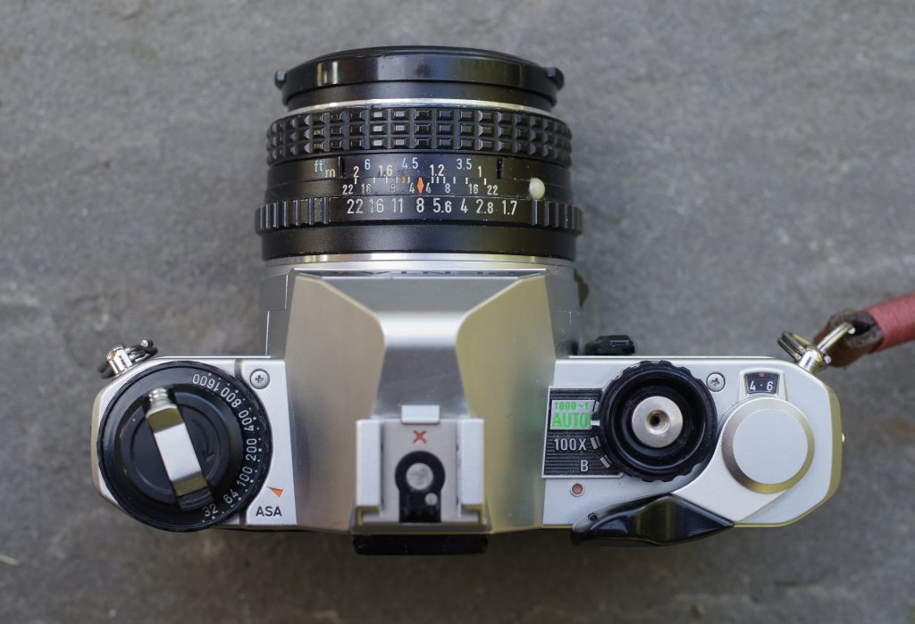 Top view of the Pentax MG camera