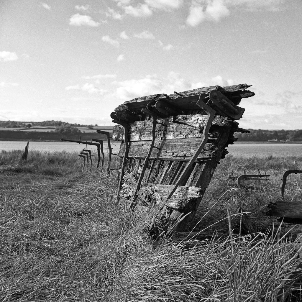 Beached boat on the banks of the Severn. Taken with Rolleiflex 3.5F.
