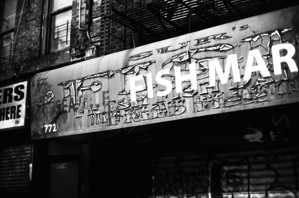 Aged Fish Market Sign, Crown Heights Brooklyn