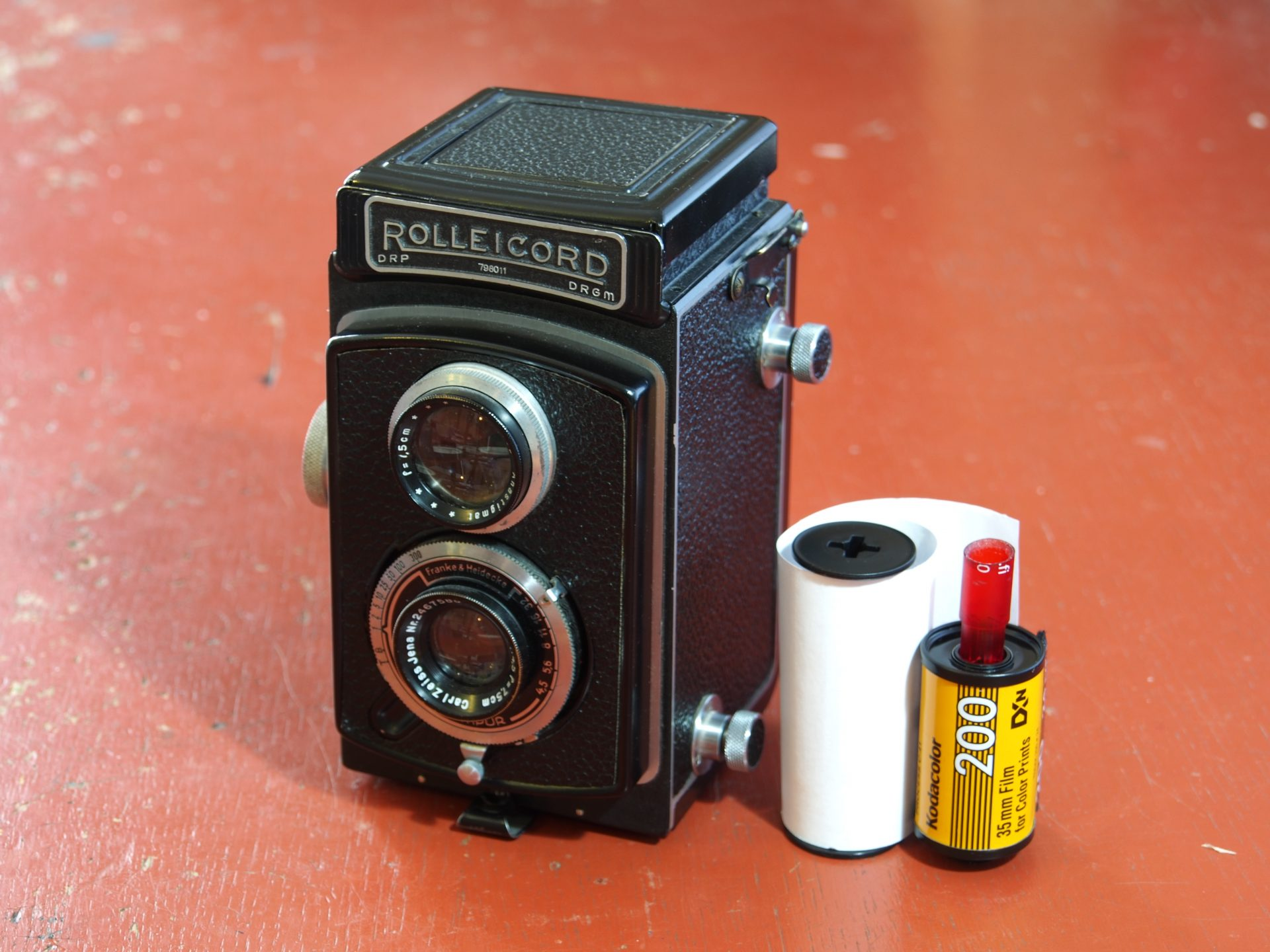 Rolleicord with 35mm film fitted to it
