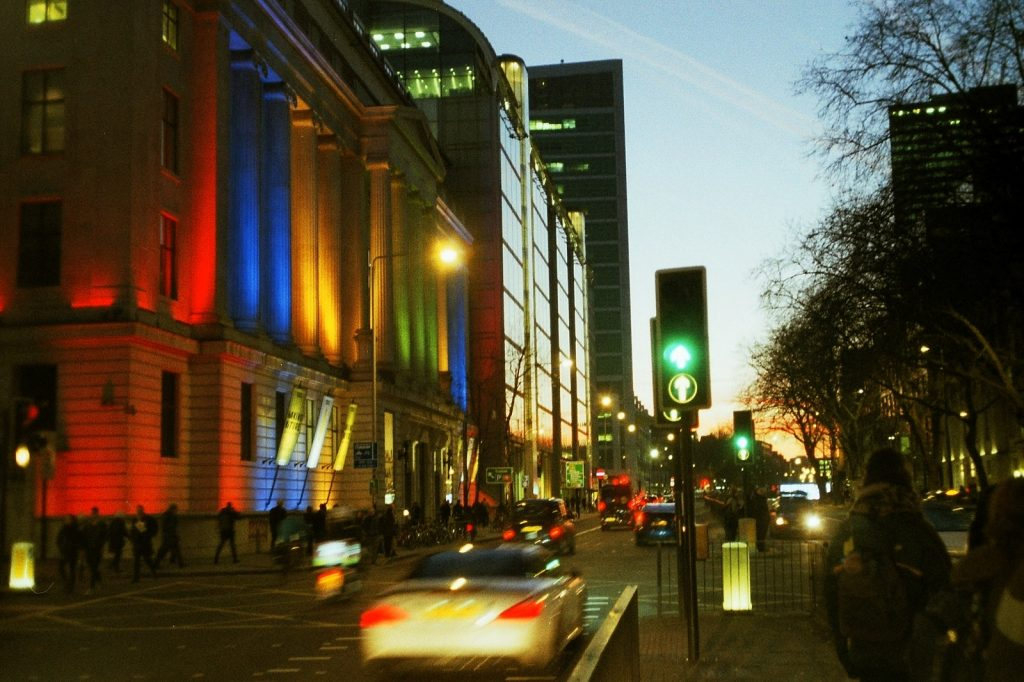 a colour photo at night of a London street