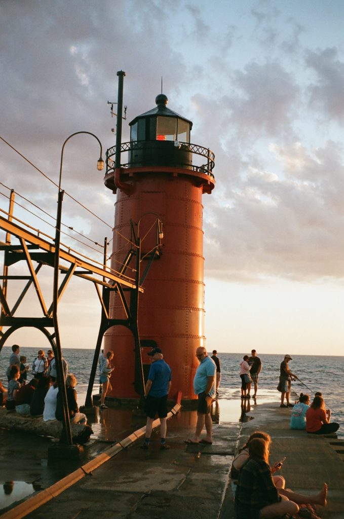 Low-light shooting with the C4. South Haven Lighthouse at sunset.
